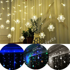 3M 150 Leds Snowflakes Icicle Snowing Fairy Light Curtain Window Christmas House