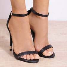LADIES BLACK LIZARD PRINT ANKLE STRAP OPEN TOE STRAPPY STILETTO HIGH HEELS SHOES