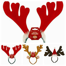 New Christmas Novelty Headband Antlers Reindeer Santa Hat Red Jingling Bell Bow