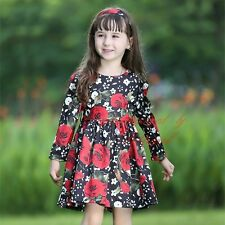 Girls Rose Printed Dress Long Sleeve Floral Spring Party Dresses Age 3-8 years