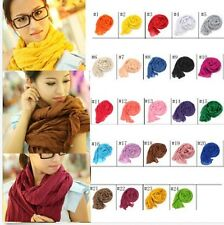 NEWLY POP Women Pure Candy Long Crinkle Soft Scarf Wrap Voile Wraps Shawl