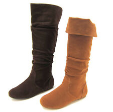 Womens Fashion Shoes Boots Slouch Flat Knee High Foldable Cuff Casual All Sizes