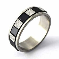 fashion stainless steel mens ring black white ring size 6-9 silver band ring