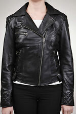 Ladies Women's Black Fashion Quilted Biker Style Leather Jacket