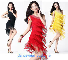 Ladies Party Ballroom Latin Salsa Dance Dress Tango Samba Fringe Tassel Skirt 8C