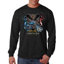 American Ride Iron Cross Chopper Motorcycle Biker Long Sleeve T-Shirt Tee