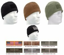 Polar Fleece Operators Watch Cap Cold Weather Hat & US Flag Patch