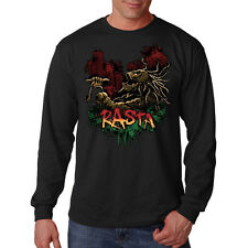 Rasta Skull Rastafarian Skeleton Reggae Music Long Sleeve T-Shirt Tee