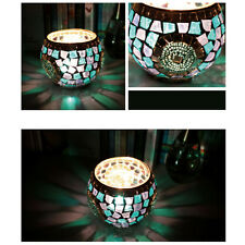 Colorful Mosaic Glass Candle Holder Romantic Candlestick Home Party Bridal Decor