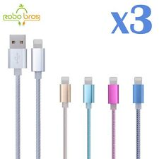 3X Aluminum Micro USB  Charger Sync Data Cable For iPhone 5 5S 5C 6 6S PLUS