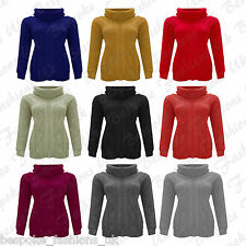 Ladies Women's Cowl Neck Long Sleeve Cable Knitted Baggy Sweater Jumper Top 8-14