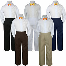 3pc Boys Baby Toddler Kids Yellow Bow Tie Formal Pants Set Suit S-7