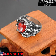 VALYRIA 316L Stainless Steel Men's Biker Ring Dragon Claw Red Stone Gothic Ring