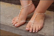 White crystal Pearl & silver Classics Barefoot Sandals bridal foot jewellery NS