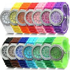 Stylish Geneva Fashion Crystal Jelly Gel Silicon Girl Women's Quartz Wrist Watch