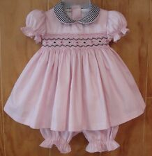NWT Tutti Color Baby Girl Pink Smocked Hand Embroidered Dress Pink  6 9 12 18