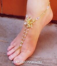 Clear AB Crystal & Gold flower CLEOPATRA Barefoot Sandals bridal Non-Stretch fit