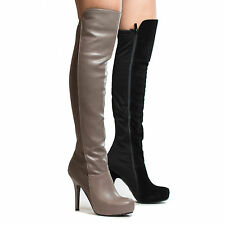 Coexist Almond Toe Over The Knee Hidden Platform Stiletto High Heel Boots