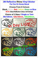 3M Reflective Rhino Vinyl Stickers For Car or Home Decal - Single or Twin