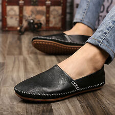 Mens Genuine Leather Casual Soft Flats Slip On Loafer Moccasins Driving Shoes