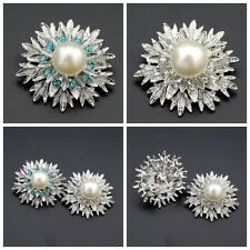 Vogue Wedding Party Silver Rhinestone Crystal Pearl Brooches Brooch Bouquet Pin