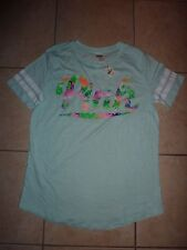 "VICTORIAS SECRET PINK GRAPHIC TROPICAL FLORAL ""PINK"" SCOOPNECK TEESHIRT NWT"