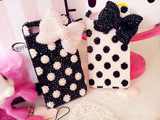 For Mobile Phones Bling Lovely Polka Dots Bow Pearls Rhinestone Hard Case Cover