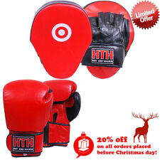 HTH Boxing Focus Pads Set Real Leather Gloves MMa Kick Bag Gym Punch Training