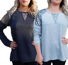 Uk Size 16 - 26 Ladies Long Sleeved Sparkly Top with Sequins