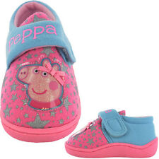 Girls Size 4 - 9 PEPPA PIG Touch Fastening Pink Blue Slippers NEW Infants