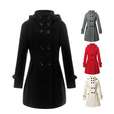Women Winter Wool Coat Jacket Double Breasted Peacoat Trench Slim Parka Overcoat