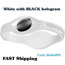 Two WHITE bracelets with BLACK hologram Power Energy Balance Silicone (2 pieces)