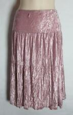 Brown or Pale Dusky Pink Velvet Tiered Gypsy Skirt Size 8 10 12 14 Boho (A105)