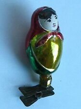 "Vintage Russian Christmas silver Glass Ornament ""Russian Doll"""