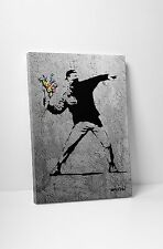 Banksy Flower Thrower Full Size Gallery Wrapped Canvas. BONUS BANKSY WALL DECAL!