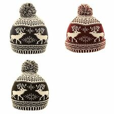 SKI HAT UNISEX CHUNKY KNIT WOOLY FAIR ISLE WINTER BEANIE POM MENS WOMENS LADIES