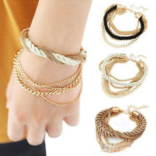 Fashion Handmade Womens Elegant Gold Chain Braided Rope Multilayer Bracelet