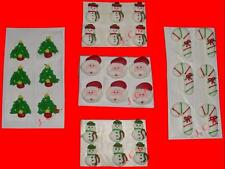 ICING CHRISTMAS CAKE & CUPCAKE TOPPER DECORATIONS SANTA SNOWMAN TREE CANDY CANES