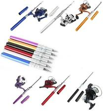 Mini Aluminum Pocket Pen Fishing Rod Pole + Reel Purple Portable Tackle Pro J7HZ