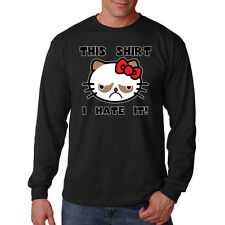 Grumpy Cat This Shirt I Hate It Meme Funny Humor Long Sleeve T-Shirt Tee