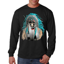 Native American Indian Chief Blue Feathers Headdress Long Sleeve T-Shirt Tee