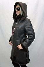 Brown 100% Sheepskin Shearling Leather Bomber Pilot Aviator Jacket Coat XS - 6XL