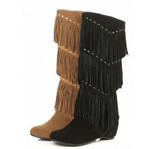 VINTAGE Womens Wedge Hidden Heel Fringe Tassel Genuine Leather Mid-calf Boots SZ