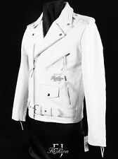 BRANDO WHITE Mens New Biker Cruiser Fashion Cowhide Leather Jacket