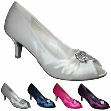 NEW SATIN DIAMANTE BRIDAL WEDDING EVENING LOW MID HEEL COURT PUMP SHOES UK SIZE