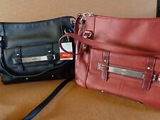 WOMENS RELIC HANDBAG SATCHEL~HAND & SHOULDER STRAP~BLK OR RED/ROSE-SILVER ACCENT