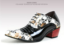 Men's Cuban Heels Patent Leather Flower Lace Up Oxford Pointed Toe Dress Shoes