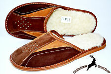 Mens Real Suede Leather White Wool Slippers Shoes Sandal Handmade Warm Scuff New