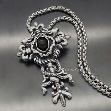 Men's Dragon Black CZ Stone Cross 316L Stainless Steel Cross Pendant Necklace