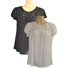 Ex BHS Embroidered Embellished Blouse Top Studded Chiffon Black Cream Size 10 12